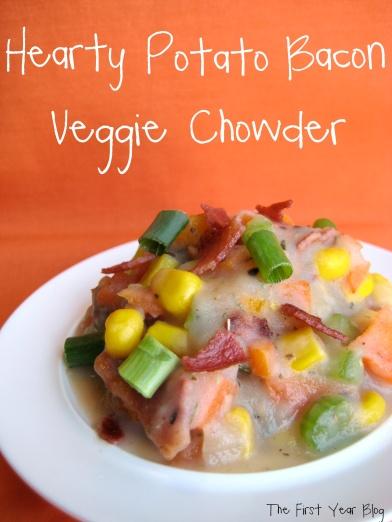 Hearty Potato Bacon Veggie Chowder - The First Year Blog #PotatoBaconVeggieChowder