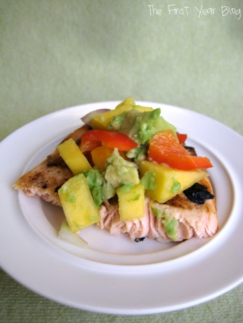 Grilled Salmon with Avocado Mango Salsa - The First Year Blog