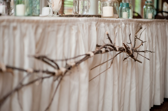Head Table Hanging Branches - The First Year Blog #Wedding #Rustic