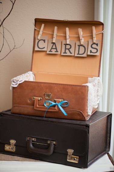 Suitcase Card Box, Rustic Wedding Series - The First Year Blog #Wedding #Cardbox